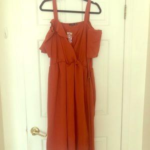 Boohoo orange cold shoulder dress